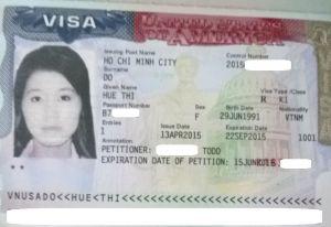 Visa K-1 của Huệ