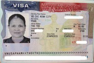 Visa của bà Tho