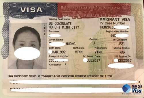 Visa của chị Hường