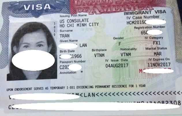 Visa của chị Lan